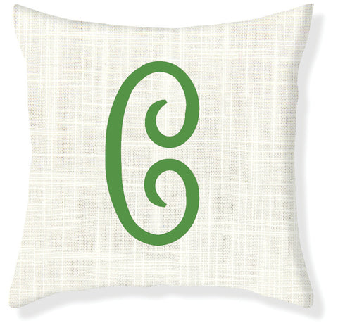1-Letter Juliette Cream and Emerald Monogram Pillow Cover