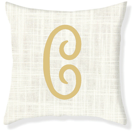 1-Letter Juliette Cream and Gold Monogram Pillow Cover