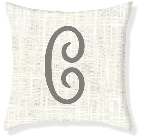 1-Letter Juliette Cream and Gray Monogram Pillow Cover