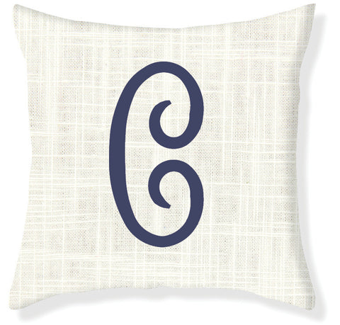 1-Letter Juliette Cream and Navy Monogram Pillow Cover
