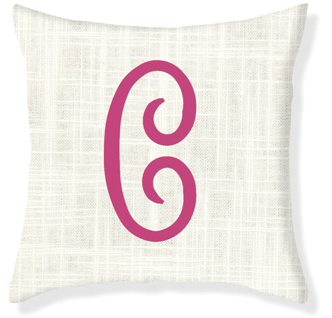 1-Letter Juliette Cream and Raspberry Monogram Pillow Cover