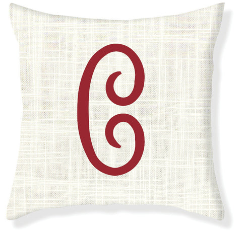 1-Letter Juliette Cream and Red Monogram Pillow Cover