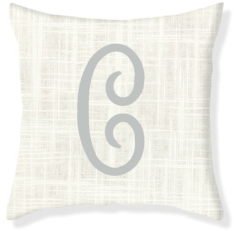 1-Letter Juliette Cream and Silver Monogram Pillow Cover