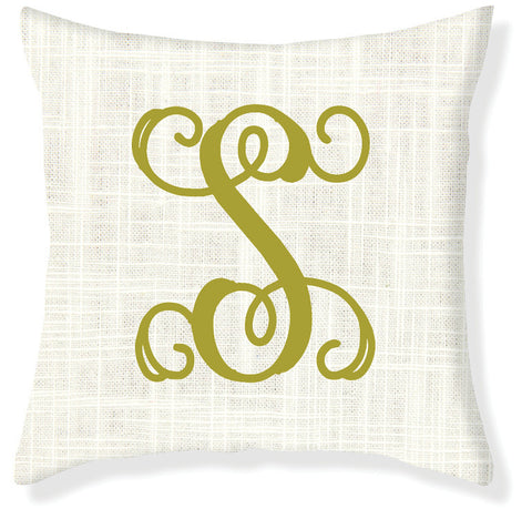 1-Letter Scroll Cream and Citron Monogram Pillow Cover