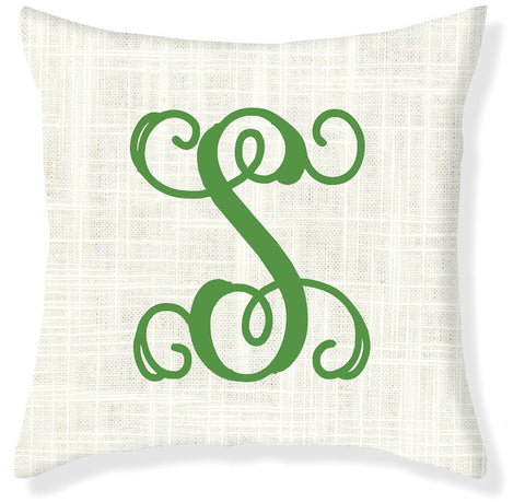 1-Letter Scroll Cream and Emerald Monogram Pillow Cover