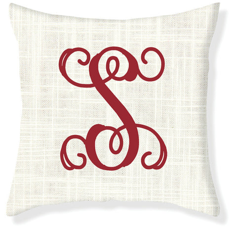 1-Letter Scroll Cream and Red Monogram Pillow Cover