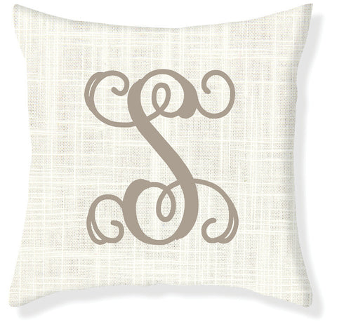 1-Letter Scroll Cream and Taupe Monogram Pillow Cover