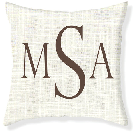 3-Letter Block Cream and Brown Monogram Pillow Cover