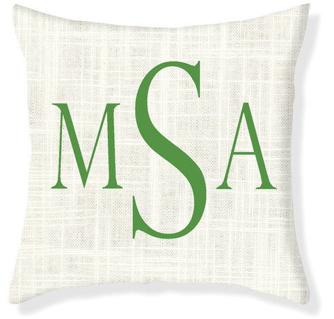 3-Letter Block Cream and Emerald Monogram Pillow Cover