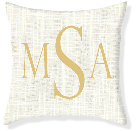 3-Letter Block Cream and Gold Monogram Pillow Cover