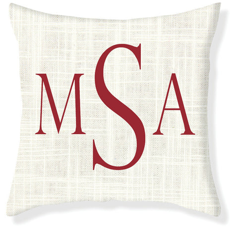 3-Letter Block Cream and Red Monogram Pillow Cover