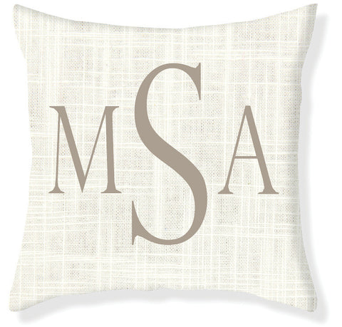 3-Letter Block Cream and Taupe Monogram Pillow Cover