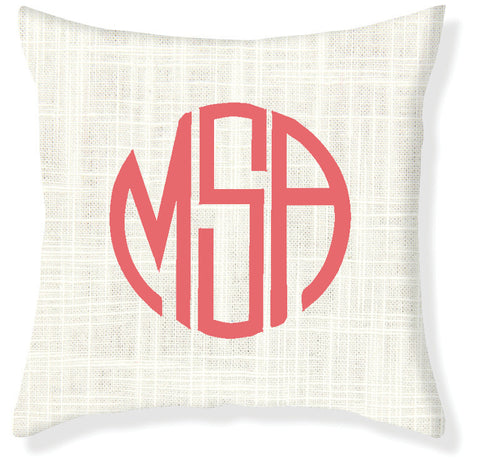 3-Letter Circle Cream and Coral Monogram Pillow Cover