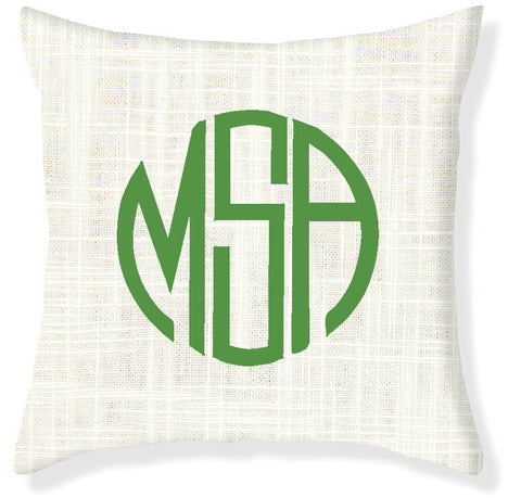 3-Letter Circle Cream and Emerald Monogram Pillow Cover