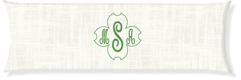 Signature Dogwood Cream and Emerald Monogram Pillow Cover
