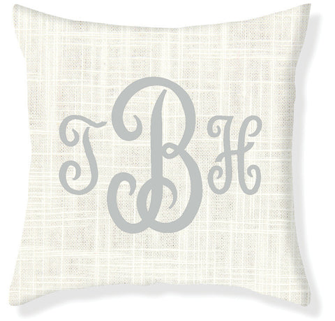 3-Letter Juliette Cream and Silver Monogram Pillow Cover