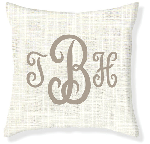 3-Letter Juliette Cream and Taupe Monogram Pillow Cover