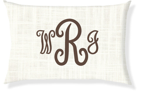 3-Letter Juliette Cream and Brown Monogram Pillow Cover