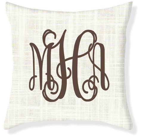 3-Letter Scroll Cream and Brown Monogram Pillow Cover