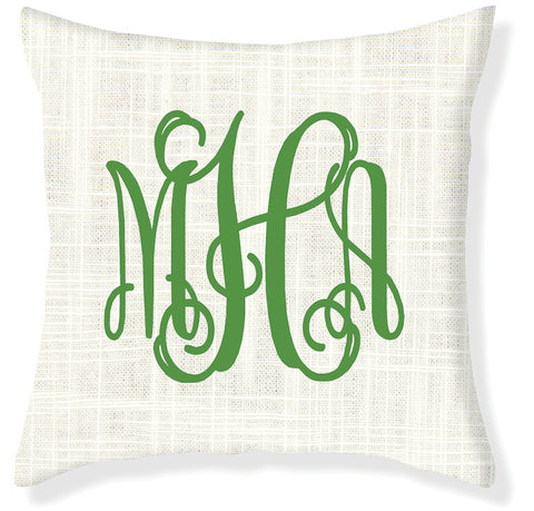 3-Letter Scroll Cream and Emerald Monogram Pillow Cover