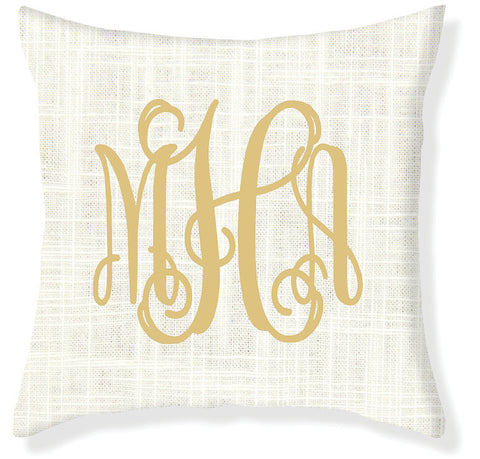 3-Letter Scroll Cream and Gold Monogram Pillow Cover