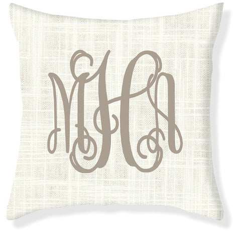 3-Letter Scroll Cream and Taupe Monogram Pillow Cover