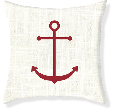 Cream and Red Anchor Pillow Cover