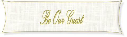 """Be Our Guest"" Cream and Citron Pillow Cover"