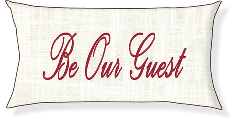 """Be Our Guest"" Cream and Red Pillow Cover"