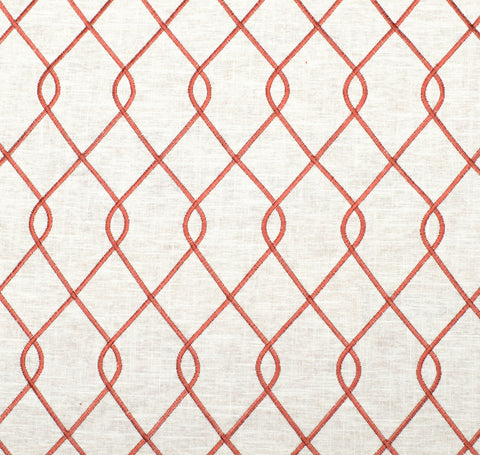 Embroidered Trellis Coral Fabric by the Yard