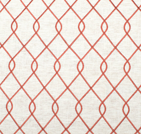 Embroidered Trellis Coral Fabric Swatch