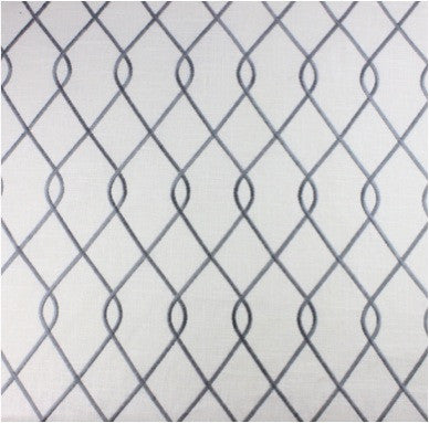 Embroidered Trellis Gray Fabric by the Yard