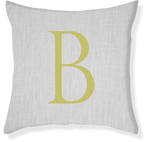 1-Letter Block Gray and Citron Monogram Pillow Cover
