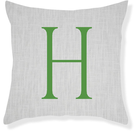 1-Letter Block Gray and Emerald Monogram Pillow Cover