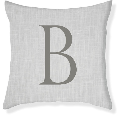 1-Letter Block Gray and Charcoal Monogram Pillow Cover