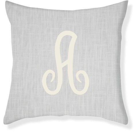 1-Letter Juliette Gray and Cream Monogram Pillow Cover