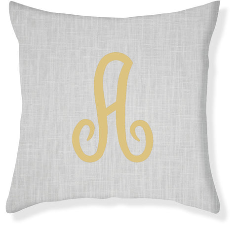 1-Letter Juliette Gray and Gold Monogram Pillow Cover