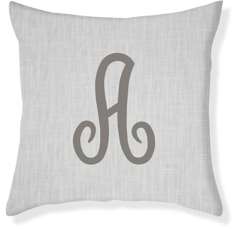 1-Letter Juliette Gray and Charcoal Monogram Pillow Cover