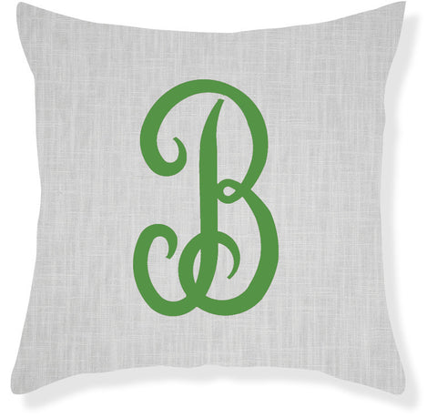 1-Letter Juliette Gray and Emerald Monogram Pillow Cover