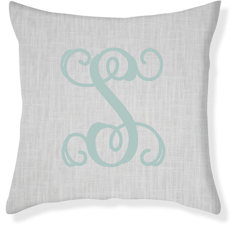 1-Letter Scroll Gray and Aqua Monogram Pillow Cover