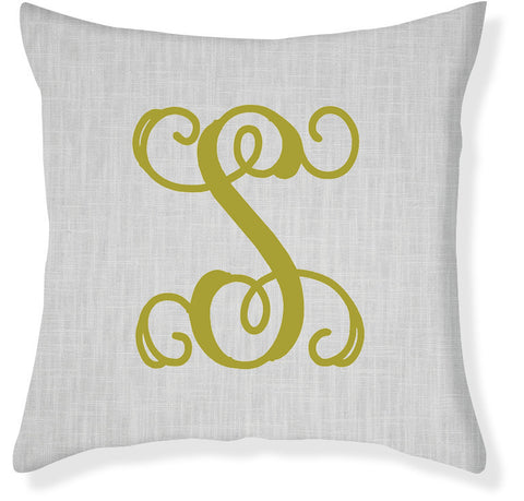 1-Letter Scroll Gray and Citron Monogram Pillow Cover