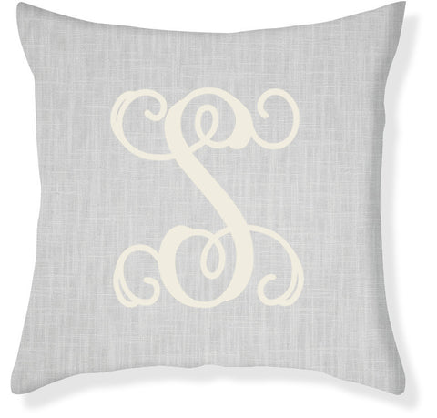 1-Letter Scroll Gray and Cream Monogram Pillow Cover