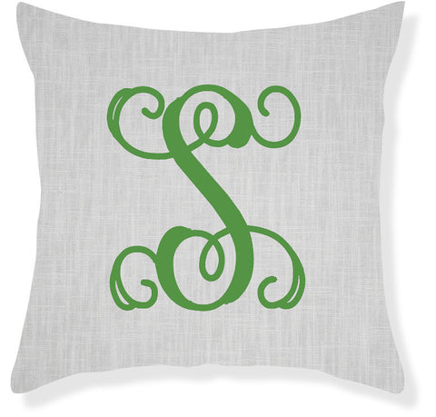 1-Letter Scroll Gray and Emerald Monogram Pillow Cover