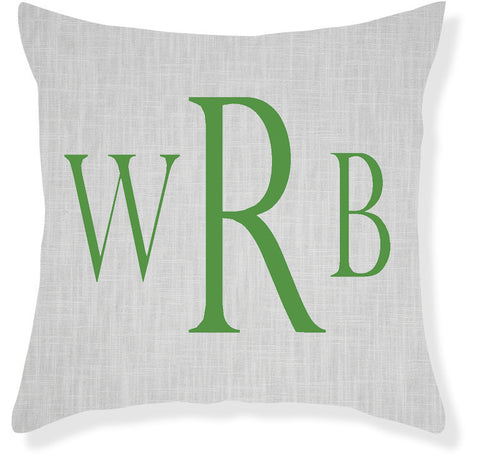 3-Letter Block Gray and Emerald Monogram Pillow Cover