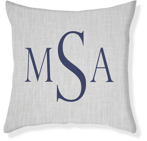 3-Letter Block Gray and Navy Monogram Pillow Cover