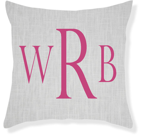 3-Letter Block Gray and Raspberry Monogram Pillow Cover
