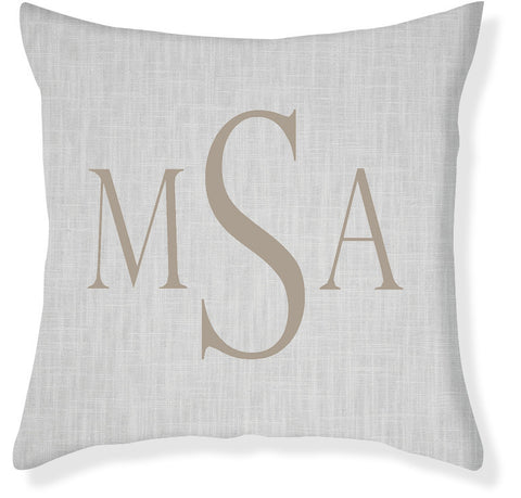 3-Letter Block Gray and Taupe Monogram Pillow Cover