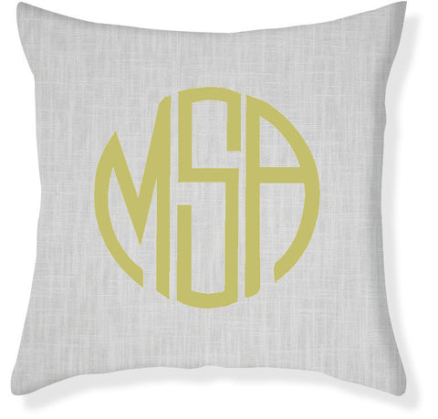 3-Letter Circle Gray and Citron Monogram Pillow Cover