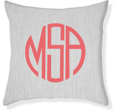3-Letter Circle Gray and Coral Monogram Pillow Cover
