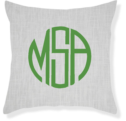 3-Letter Circle Gray and Emerald Monogram Pillow Cover